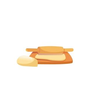 Pâte plate de dessin animé de vecteur sur la planche de cuisson avec un rouleau à pâtisserie isolé sur un régime alimentaire équilibré vide, une alimentation saine et un concept de cuisson des aliments, conception d'annonce de bannière de site web