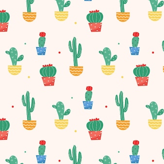 Patern de cactus avec vases colorés