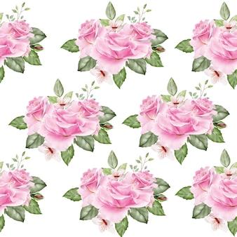 Patern sans couture avec des feuilles florales aquarelle