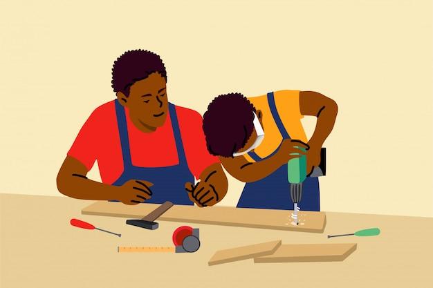 Paternité, enfance, travail, éducation, concept d'aide