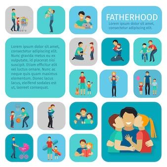 Paternité sport et temps libre plat décoratif icônes définies illustration vectorielle isolé