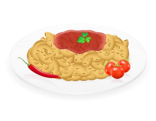 Pâtes sur une assiette avec des légumes vector illustration