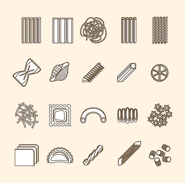 Pâtes fine ligne icons set isolé sur fond. assortiment de différentes formes prêt pour votre entreprise. illustration vectorielle