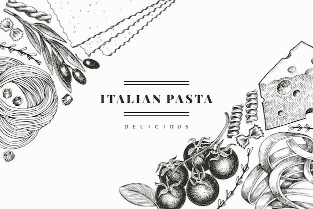 Pâtes italiennes avec des ajouts de conception. illustration de nourriture dessinée à la main. style gravé. pâtes anciennes différentes