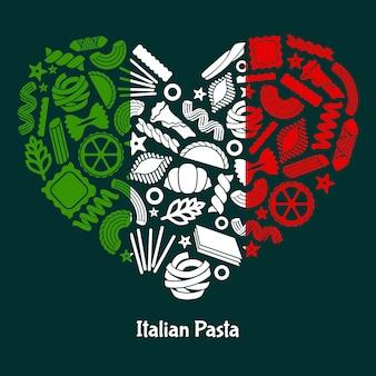 Pâtes italiennes. drapeau italien de l'italie en forme de coeur