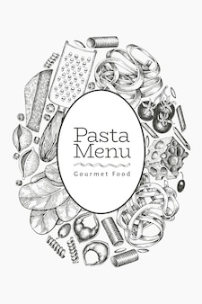 Pâtes italiennes avec modèle d'ajouts. illustration de nourriture dessinée à la main. style gravé.