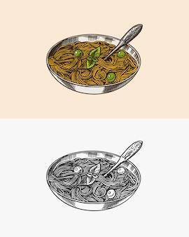 Pâtes italiennes avec sauce pesto et pâtes au basilic dans le bol croquis dessiné à la main gravé