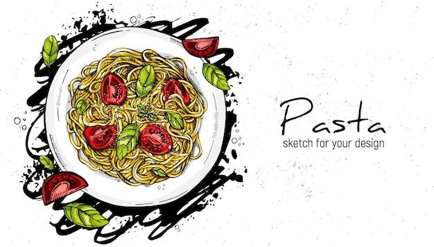 Pâtes italiennes à la tomate et au basilic. croquis de dessin à la main.