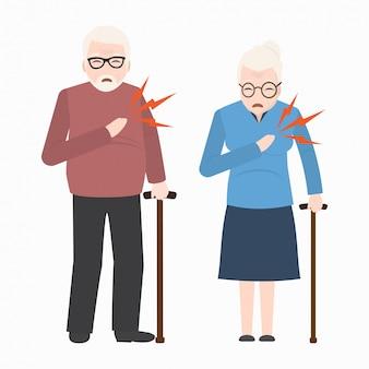 Patient âgé cardiaque, icône de patients thoraciques
