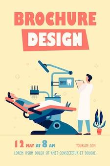 Patient assis dans une chaise médicale lors d'une visite ou d'un traitement modèle de flyer isolé