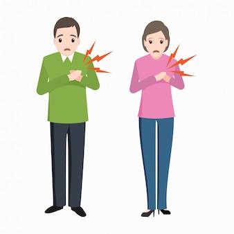 Patient cardiaque, homme et femme, icône de patients thoraciques