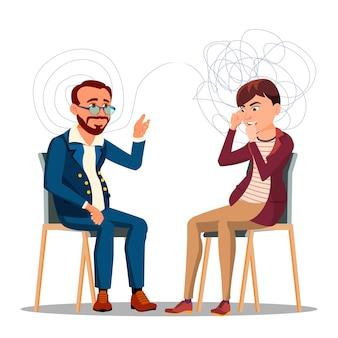 Patient à la consultation de psychiatrie, caractère de psychothérapie
