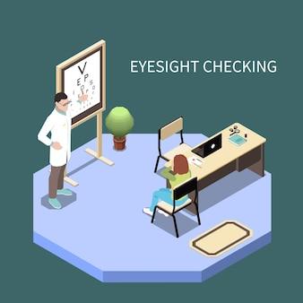 Patient contrôle de la vue ophtalmologie composition isométrique illustration 3d