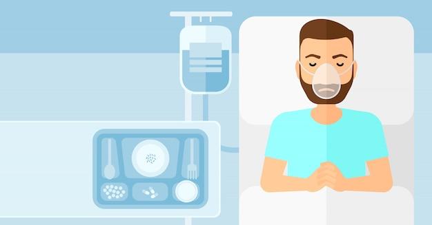Patient couché dans un lit d'hôpital.