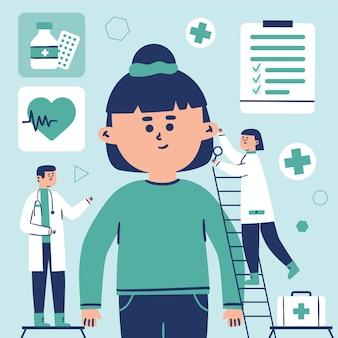 Patient en cours d'examen par un médecin dans une illustration de la clinique