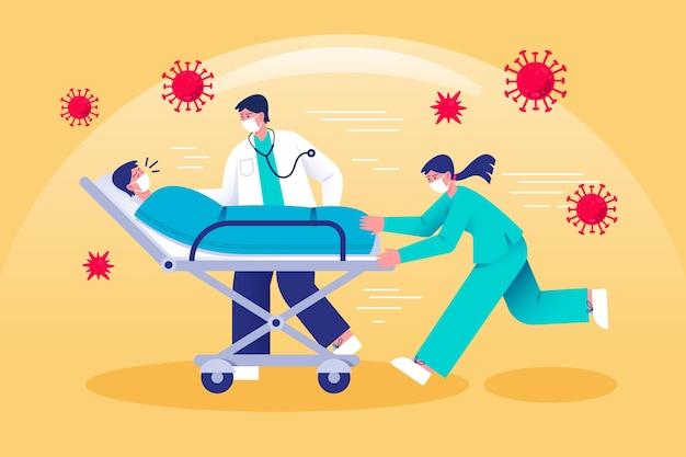 Patient Critique Du Coronavirus Vecteur gratuit