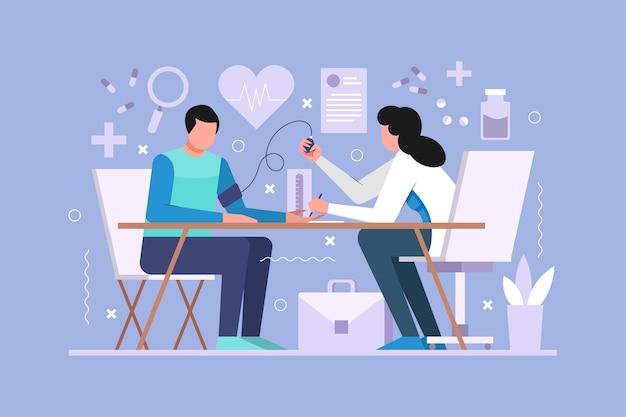 Patient dessiné à la main prenant un examen médical