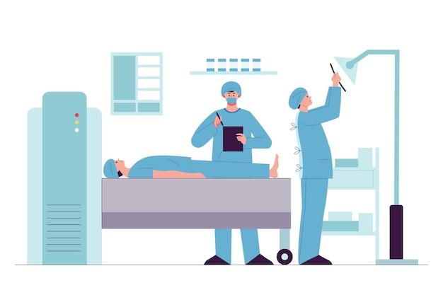 Patient dessiné à plat faisant un examen médical