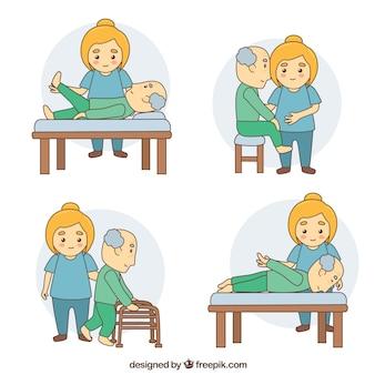Le patient effectue quatre exercices de réadaptation différents