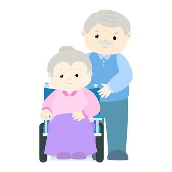 Patient femme senior assis sur un fauteuil roulant