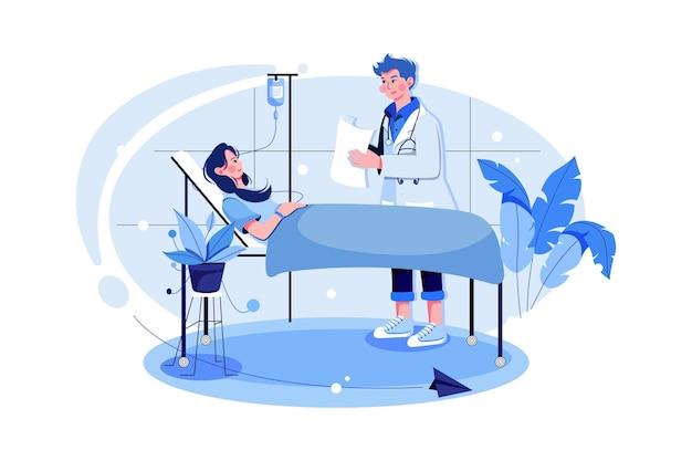 Patient de l'hôpital dans la division privée et médecin vérifiant le patient