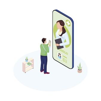 Patient masculin communiquant avec un spécialiste médical personnel