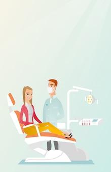 Patient et médecin au cabinet de dentiste.
