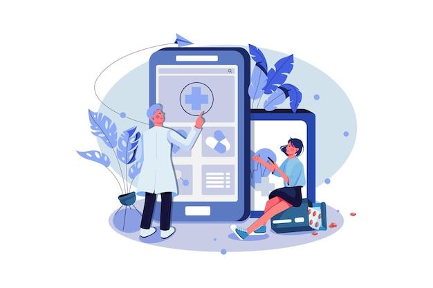 Patient et médecin utilisant l'application médicale pour gérer le rapport et la prescription