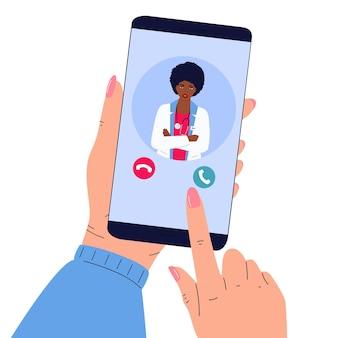 Le patient passe un appel vidéo au médecin