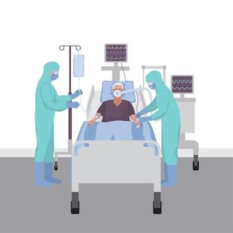 Patient en soins intensifs avec un ventilateur la ventilation pulmonaire sauve des vies
