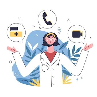 Les patients choisissent le moyen le plus approprié pour communiquer avec un médecin en ligne: appel, messages, appel vidéo.