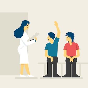 Patients dans l'illustration de la salle d'attente.