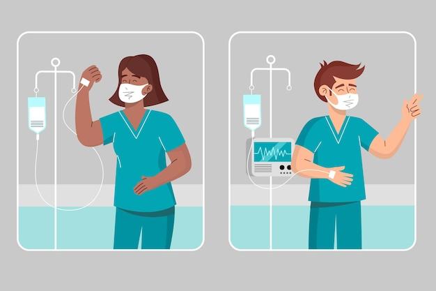 Patients positifs combattant le coronavirus