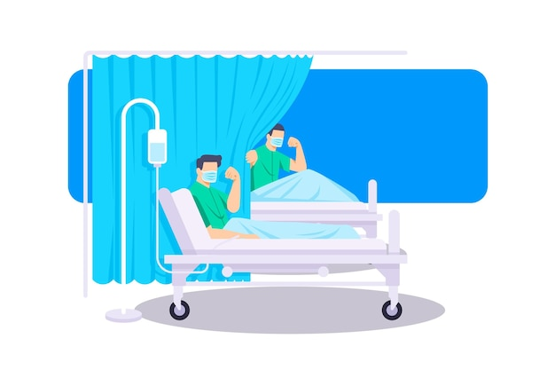 Des patients positifs combattant le covid-19