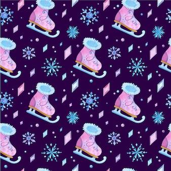Patin à glace modèle sans couture dessiné à la main. patins de fille, cristaux glacés et flocons de neige.