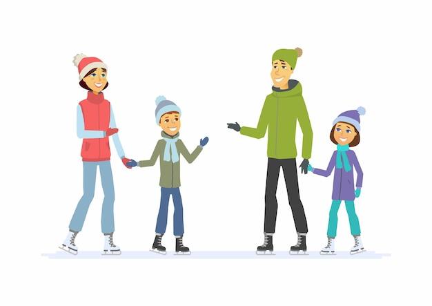 Patinage en famille heureuse - illustration de personnages de dessin animé sur fond blanc. concept d'activité hivernale, nouvel an, noël, week-end. mère et père de sourire avec des enfants sur une patinoire