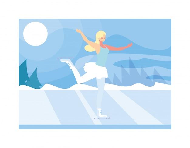 Patinage sur glace femme dans le paysage d'hiver