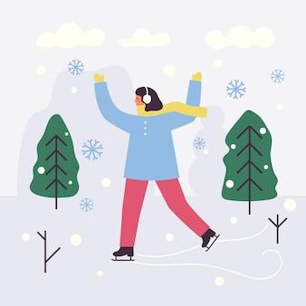 Patinage sur glace fille heureuse. vacances d'hiver. temps froid et flocons de neige.