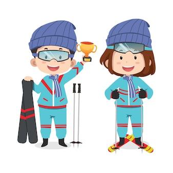 Patinage sur glace personnages enfants mignons