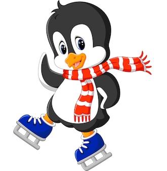 Patinage sur glace mignon de pingouin