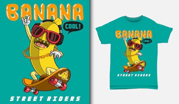 Patineur de banane de dessin animé, avec un design de t-shirt, dessiné à la main