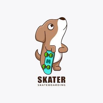 Patineur chien mascotte personnage création de logo vector illustration