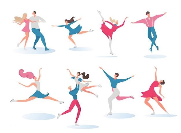 Patineur jeune fille, garçon danse sur sport glace active contour dessin animé personne illustration isolé sur blanc.