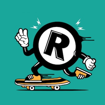 Patineur registre enregistré symbole logo skateboarding character design