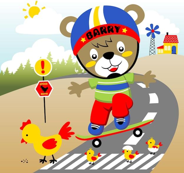 Patineur sur la route, illustration de dessin vectoriel
