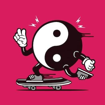 Patineur yin yang symbole logo design de personnage de planche à roulettes