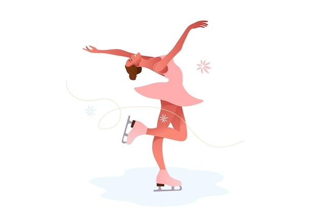 Patinoire de belle fille en costume rose. concept de corps mince.