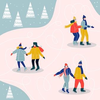 Patinoire avec des couples heureux. les gens patinage sur glace.