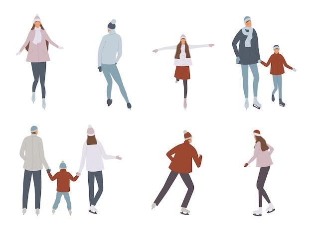 Patinoire d'hiver avec des personnages de dessins animés