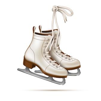 Patins artistiques réalistes de vecteur, patins à glace vintage